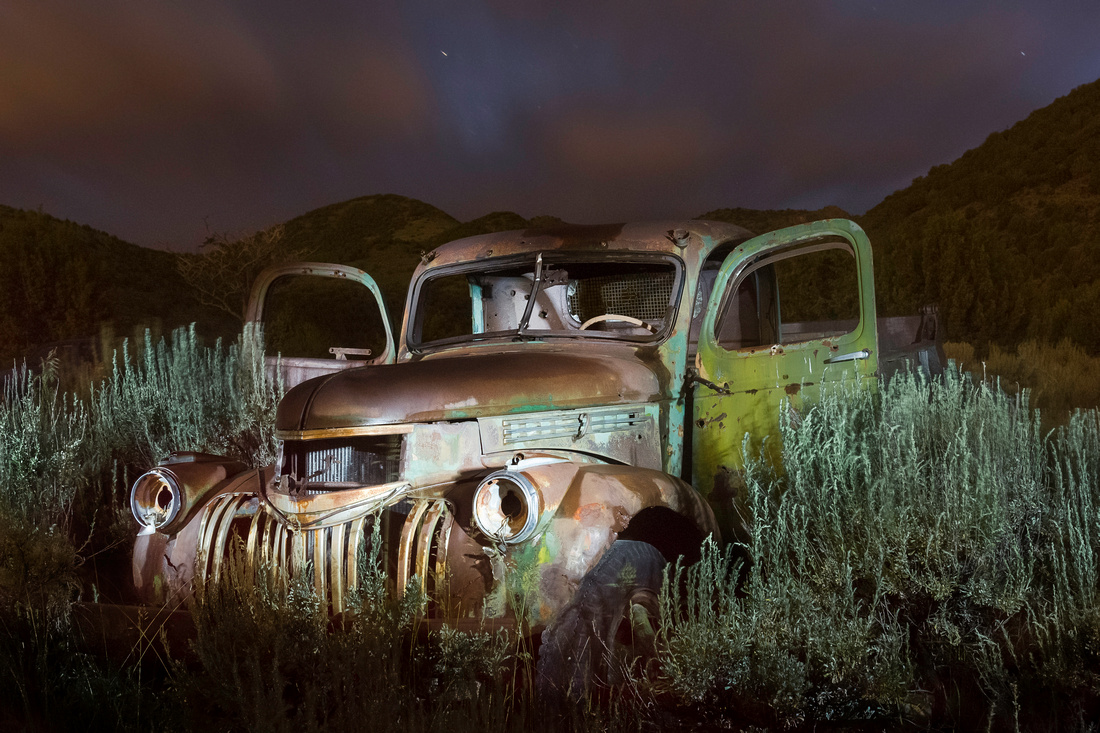 Stansbury Mountains Abandoned Truck at Night