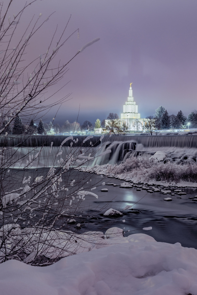 Idaho Falls Temple on a Winter Night